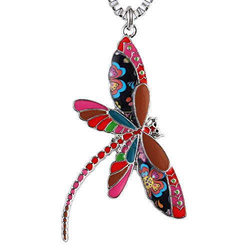 Luckeyui Multicolor Dragonfly Gift Necklace for Women Personalized Enamel Insect Pendants Jewelry