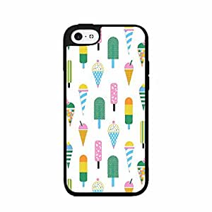 Multicolored Ice Cream Popsicle Pattern TPU RUBBER SILICONE Phone Case Back Cover iPhone 5c