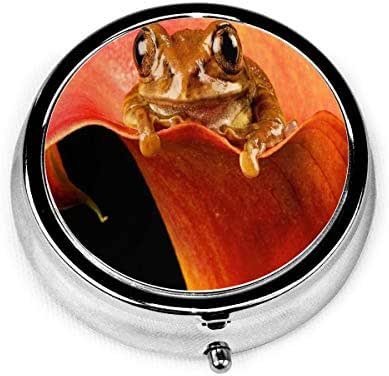 Pill Box Cute Little Fellow Animals Petals Frog Round Pill Case Daily Metal Silver Medicine Tablet Holder Organizer Container Cases for Purse Pocket Travel Vitamin,Small 2 inch,3 Compartment