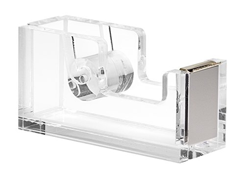 Acrylic & Silver Tape Dispenser by OfficeGoods - A Classic Design to Brighten Up Your Desk and Office