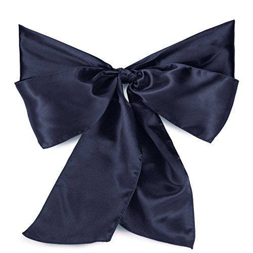 Federal Blue Mix (Lann's Linens - 10 Elegant Satin Wedding/Party Chair Cover Sashes/Bows - Ribbon Tie Back Sash - Navy Blue)