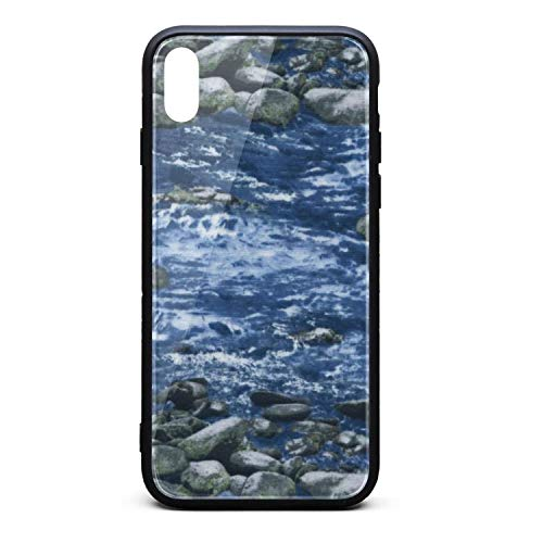 (Hiunisyue iPhone X Case Babbling Brook Water-01 9H Tempered Glass Back Cover Soft TPU Frame Scratch Resistant Shock Absorption Cover Case Compatible for iPhone X)