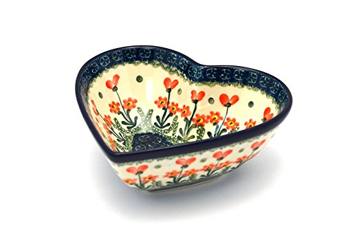 Polish Pottery Bowl - Deep Heart - Peach Spring Daisy by Polish Pottery Gallery