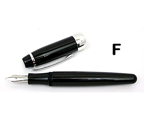 Rosetta Coronado Oversized Fountain Pen, Black Onyx, Chrome Trim, Fine Nib