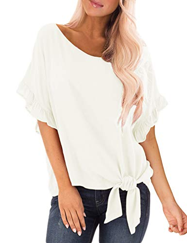 Luyeess Women's Casual Short Ruffle Sleeve Keyhole Tie Front Knot Top Scoop Neck Loose Blouse T Shirt Tee T-Shirt White Color, Size L(US 12-14)