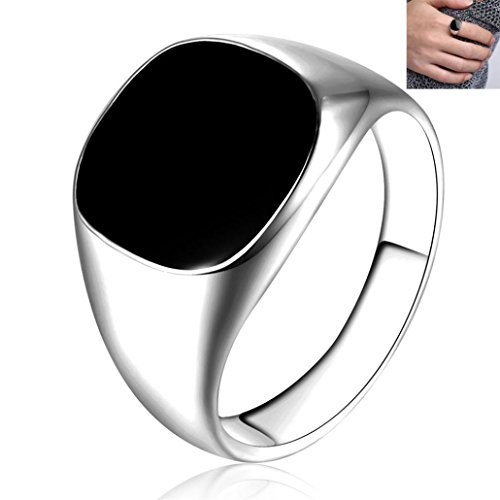 Lhwy Biker Signet Ring Silver Men Black Stainless Polished Steel Band Solid PXx7wrZqP0