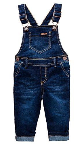 OFFCORSS Toddler Boys Kids Infant Bib Matching Brother Twin Jean Denim Cotton Cute Long Overalls Dungarees With Hooks Overol Para Niños Dark Blue (Boys Denim Overall Set)