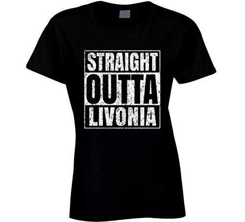 Straight Outta Livonia City Grunge Worn Look Cool T Shirt L Black (City Livonia)