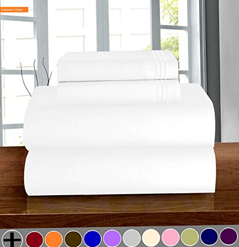 Mikash New Soft Luxury Soft 1500 Thread Count Egyptian Quality 3-Piece Sheet Wrinkle and Fade Resistant Bedding Set, Deep Pocket up to 16inch Twin/Twin XL White | Style -