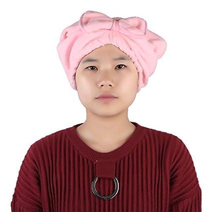 eDealMax Rosa Cap Pelo Mujeres Baño Spa microfibra decoración Bowknot elástica Banda SECA