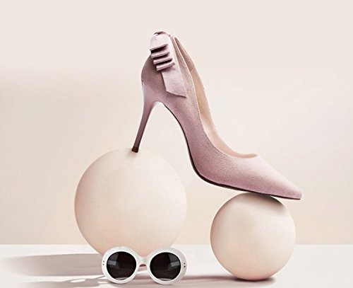 MDRW 8 Elegant High 5Cm Shoes Head Shoes Pink 37 Spring Fine Heel Women Sharp Heels Bow Single Work Lady Leisure Fashion X0qrwX