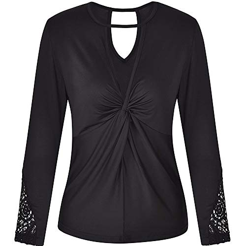 POQOQ Tops Blouse Womens Lady Casual Lace Patchwork Long Sleeve Shirt Pullover L Black