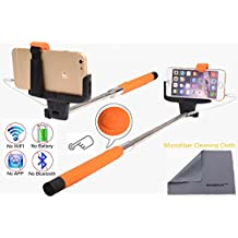 Wonbsdom Extendable Cable Control Built-in Remote Self-portrait Stick Monopod-Orange[No Bluetooth Matching & Battery Free]with Adjustable Phone Holder for Smartphones iPhone6 5 5s 5c 4s 4 Samsung Galaxy S5 S4 S3 Note4 3 2 Sony HTC,Nokia,etc.