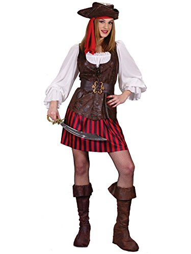 [FunWorld High Seas Buccaneer, Brown/Red/White, 2-8 Small Costume] (Sea Siren Sexy Costumes)
