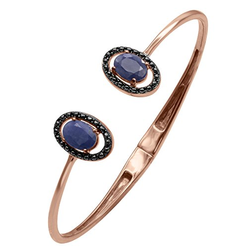Blue Sapphire Bangle Bracelet in Sterling Silver 14k Rose Gold Plated