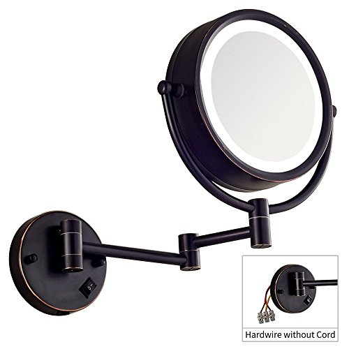 DOWRY Makeup Mirror Wall Mount Lighted with 10X Magnification, Direct Wire,8Inch Cordless, Oil Rubbed Bronze