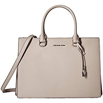 66a04e3ddbad Michael Kors Leather Satchel Medium Sutton Gusset Cement Handbag Bag New
