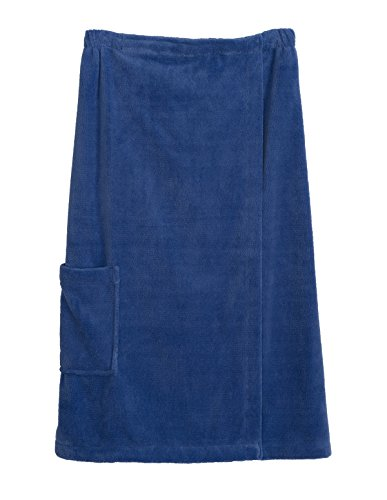 TowelSelections Women's Wrap, Shower & Bath, Water Absorbent Cotton Lined Fleece Large/X-Large Baja Blue - Loop Terry Shower Wrap