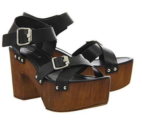 3 Strap 2 Black Uk Chunky Sandal Leather Office Whitney Buckle wOfRpWZx