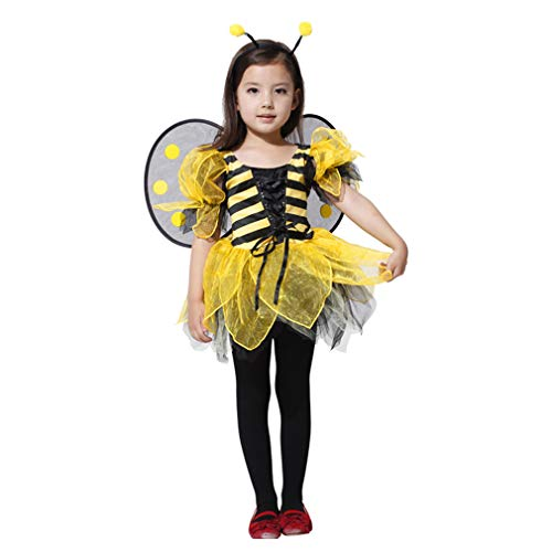 Spooktacular Girls' Beautiful Bumblebee Costume Set w/ Dress, Headband, Wings, M