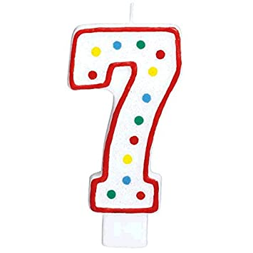 #7  Polka Dots Birthday Candle Multicolor Party Supply Amscan 177787
