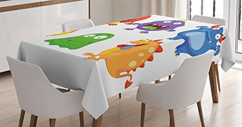 Ambesonne Funny Decor Tablecloth, Comic Cartoon Monsters with Smiley Faces Little Freaky Mascots Illustration Kids Humor Decor, Rectangular Table Cover for Dining Room Kitchen, 52x70 Inches, - Freaky Decorations Christmas