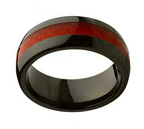 Ceramic Wedding Band Ring 8mm Red Carbon Fiber Inlay Black Ring