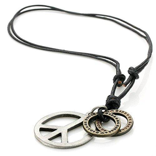 Adjustable Genuine Leather Pendant Necklace