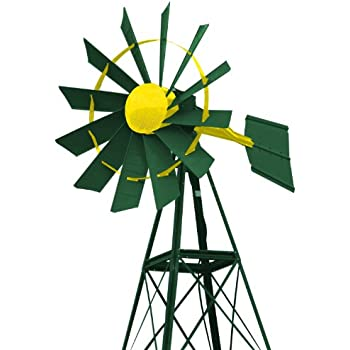 Outdoor Water Solutions PCW0236 20-Feet Green and Yellow Powder Coated Windmill