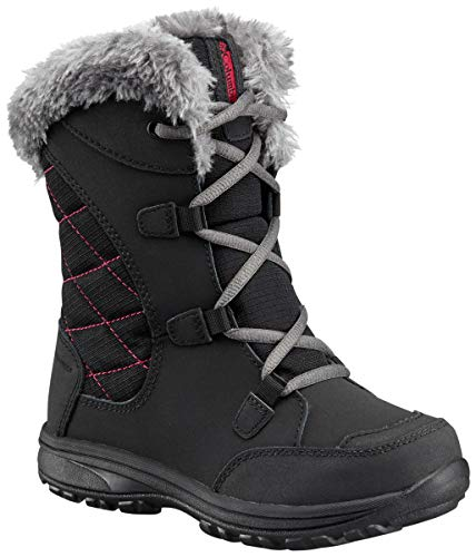 Columbia Youth Ice Maiden Lace Winter Boot , Black, 6 M US Big Kid