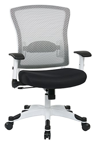 SPACE Seating Breathable Mesh Back and Padded Mesh Seat, Adjustable Arms, Tilt Tension and Lumbar Support with White Coated Nylon Frame Managers Chair, Black (Seating Tension)