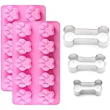 IHUIXINHE 2Packs Silicone Dog Paw Mold and 3 Packs Stainless Steel Bone Cookie Cutter, Dog Bone Biscuit Cookie for…