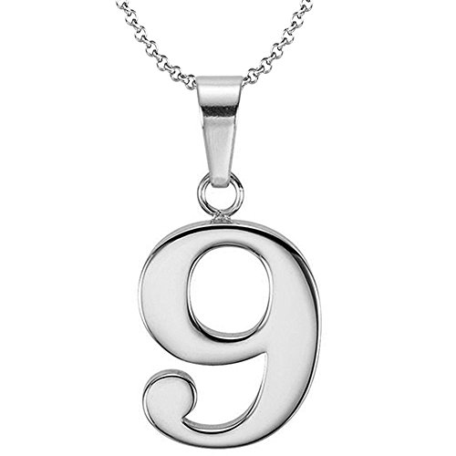 9 Pendant Sterling Silver Jewelry (925 Sterling Silver Number 9 Charms Pendant Necklace with Chain (Nine))