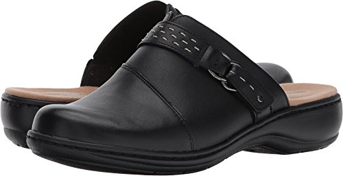 CLARKS Women's Leisa Sadie Mule, Black Leather, 8 M US