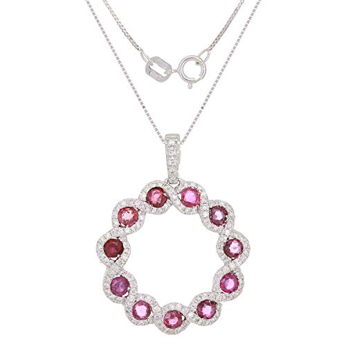 (0.498 CTTW White Diamond and Ruby 14 Karat White Gold Prong Setting Spring Ring Circle Pendant Necklace (H-I Color, I1-I2 Clarity))