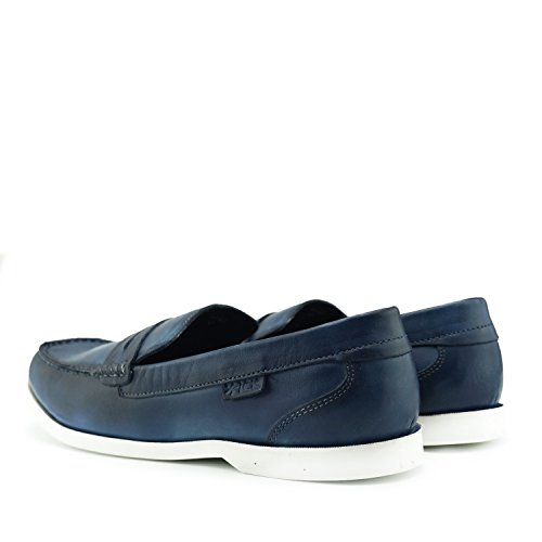 Kick Footwear Men's Casual Flat Loafers Leather Moccasins, Slip On Shoes Navy