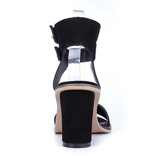 VogueZone009 Women's Solid Frosted High-Heels Open Toe Buckle Sandals Black TJXuDW