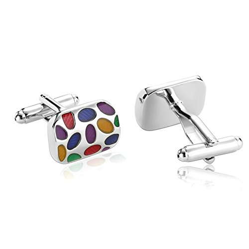 Cubic Zirconia Rounded Rectangle Stainless Steel Cufflinks Colorful Box Dad Unique Jewelry Box Fancy Elegant Aooaz ()