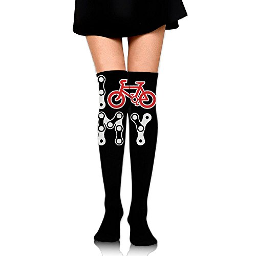 Women's Knee High Compression Thigh High Socks I Love My Bike For Walking Sport Long Stockings ()