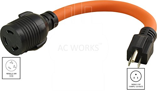 AC Connectors [S515L530-012] 1FT STW 10/3 NEMA 5-15P 15Amp Household Plug to NEMA L5-30R 30Amp Locking Female Connector Adapter cord by AC WORKS (Image #1)