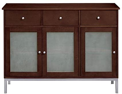 Credenza Dark Brown : Amazon.com: amanda 3 door credenza three dark brown: kitchen
