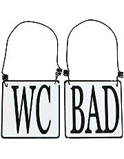 MACOSA SA8177 2-delige set WC & badkamer deurbordje emaille-look zwart wit 8 x 8 cm landhuis metalen bord instructiebord draad ophanging decoratief accessoire
