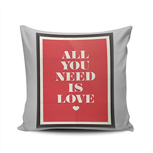 (XIUBA Throw Pillow Covers Case Heart All You Need is Love Decorative Pillowcase Cushion Cover 22X22 Inch Square Size Double Sided Design Printed)