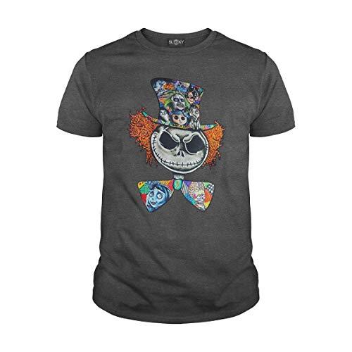 Men's Jack Skillington Tim Burton Characters Halloween T-Shirt (M, Dark Heather) (Best Tim Burton Characters)