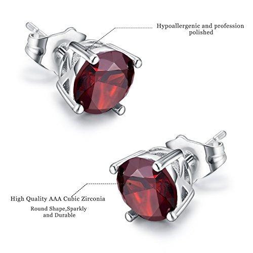 Stud Earrings,Casfine Silver Birthstone Round AAA Cubic Zirconia Diamond Earrings for Women