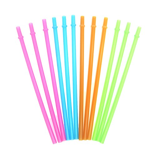 KKMO 12 Piece BPA-Free Clear Reusable Plastic Thick Drinking Straws Mason Jar Straws Mix Assorted Color Hot Pink Blue Orange - For Color Mix Orange