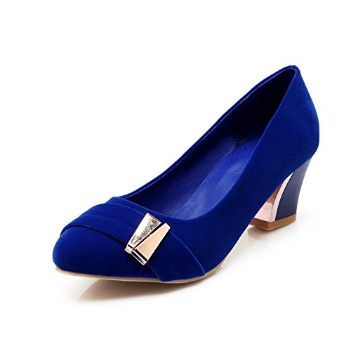 BalaMasa Womens Electroplate Heel Frosted Pumps-Shoes Darkblue 42J9TILOh