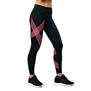2XU Women's Mid-Rise Compression Tights, Black/Striped Pink Glow, Large