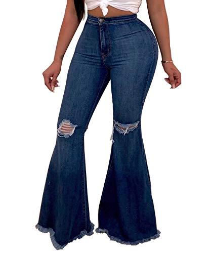Pofash Women's Destroyed Ripped Flare Jeans Bell Bottom Raw Hem Denim Pants