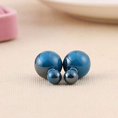 Fashion Golden Crown Crystal Shining Double Sides Big Glass Pearl Stud Earrings Star Ball Earrings Ear Stud Women ()